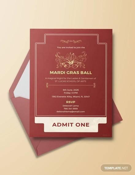 free mardi gras style ticket invitation template