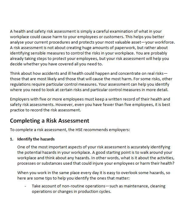 health risk assessment in ms word