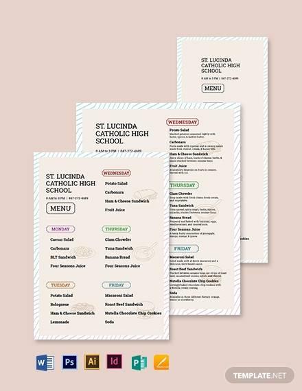 high school menu template1