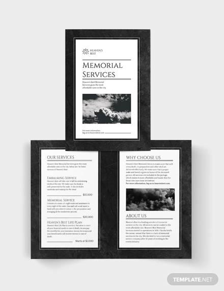 memorial bi fold brochure template