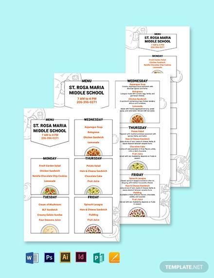 middle school menu template