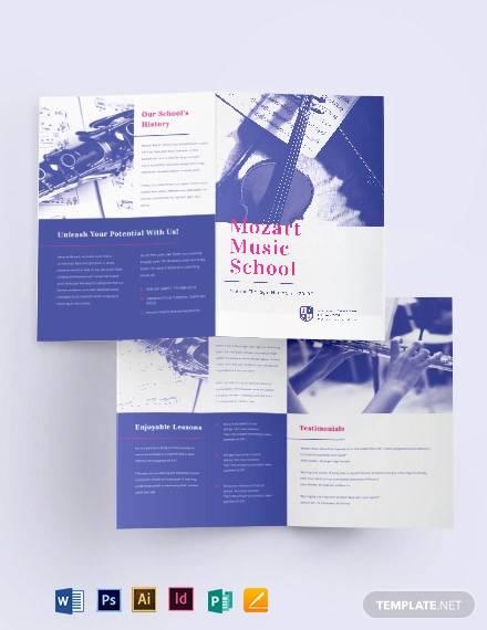 modern music school bi fold brochure template