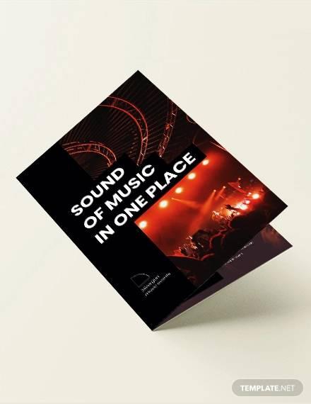 music event bi fold brochure template
