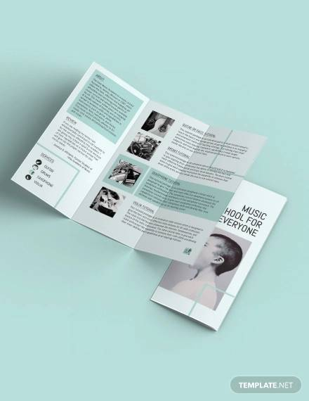 music school tri fold brochure template