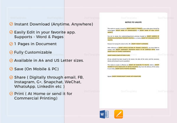 notice to vacate template in word