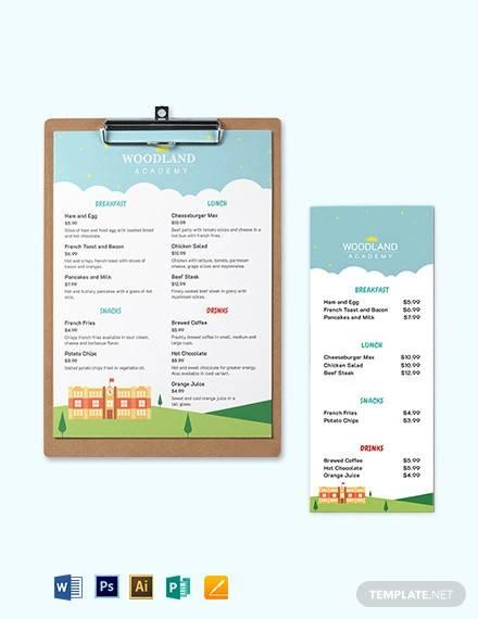 nursery school menu template