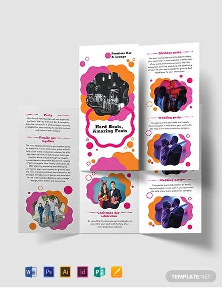 party tri fold brochure template