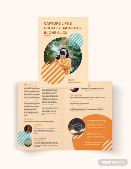 photography studio bi fold brochure template