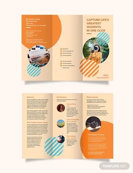 photography studio tri fold brochure template