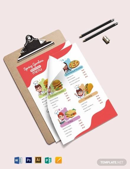 pre school menu template