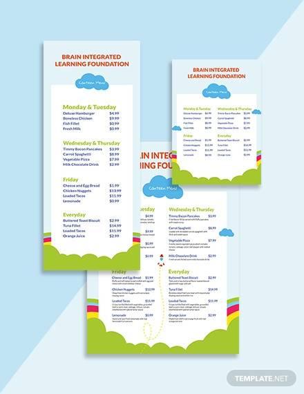 preschool canteen menu example