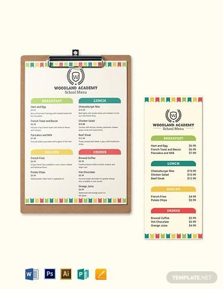 primary school menu template1