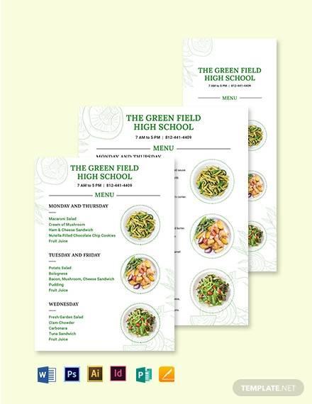 printable school menu template