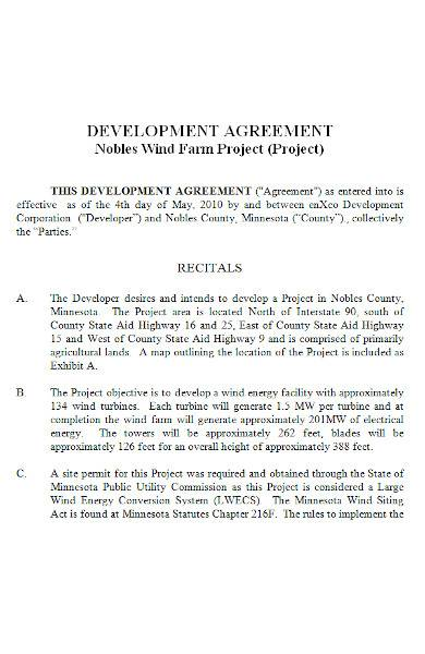 project development agreement in ms word