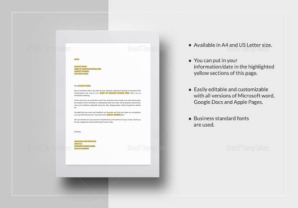 request for information in advance of purchase order template