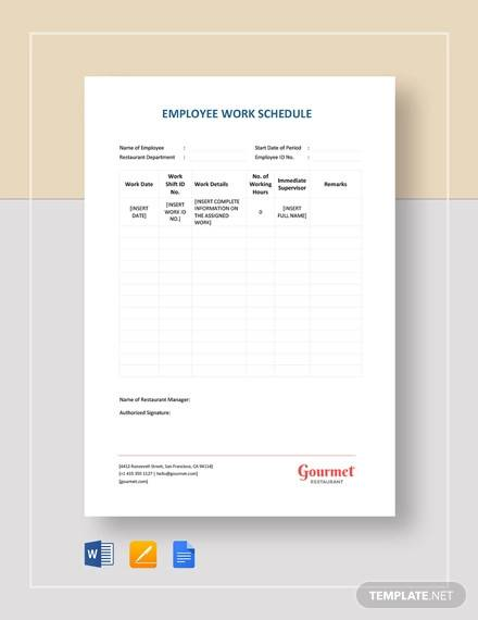 restaurant employee work schedule template