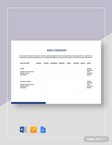 sample daily checklist template
