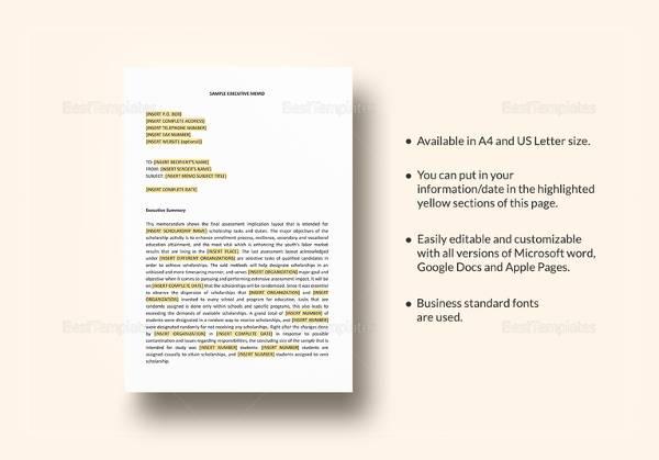 sample executive memo template2
