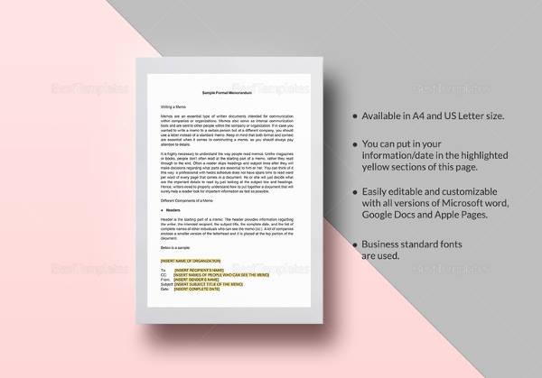 sample formal memorandum template1