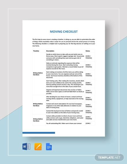 sample moving checklist template