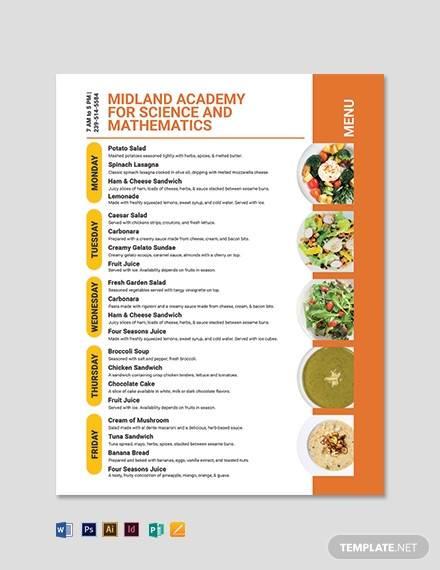 school flyer menu template