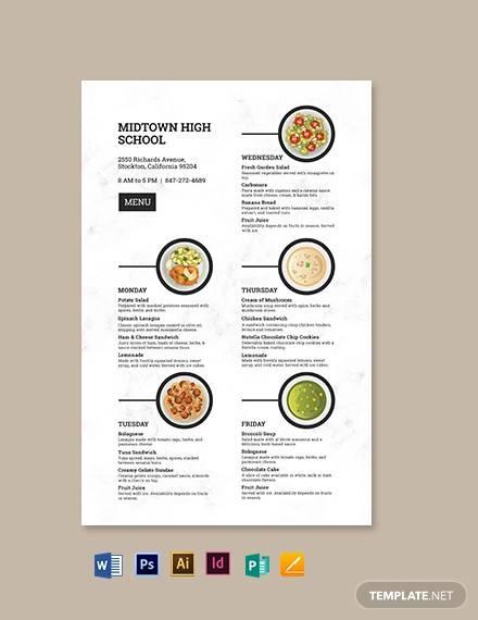 school poster menu template
