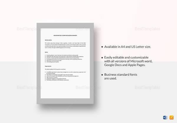 senior accounting manager job description template