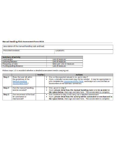 simple manual handling risk assessment