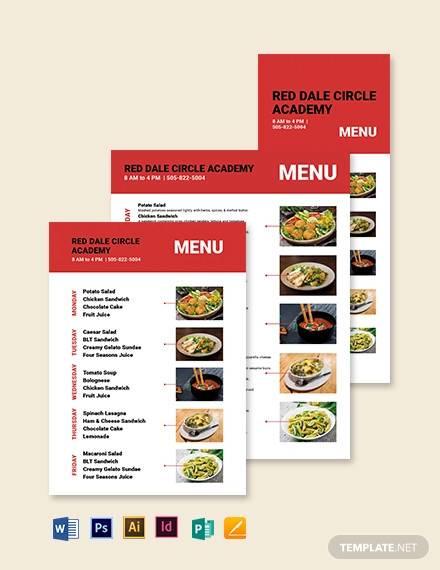 simple school menu template