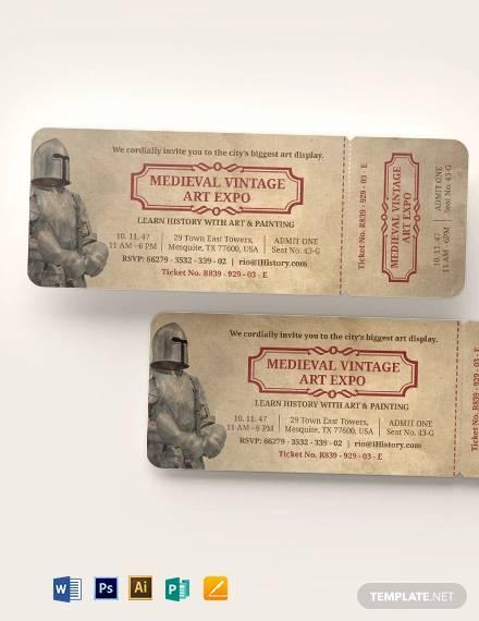vintage ticket invitation template1
