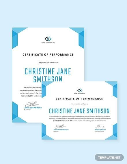 best performance certificate