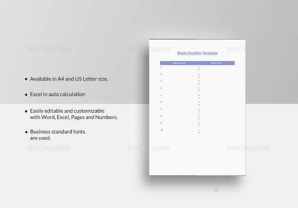 50+ Checklist Templates | Sample Templates