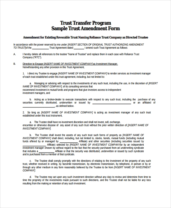 Sample Trust Amendment Form - 7+ Free Documents Download In Pdf