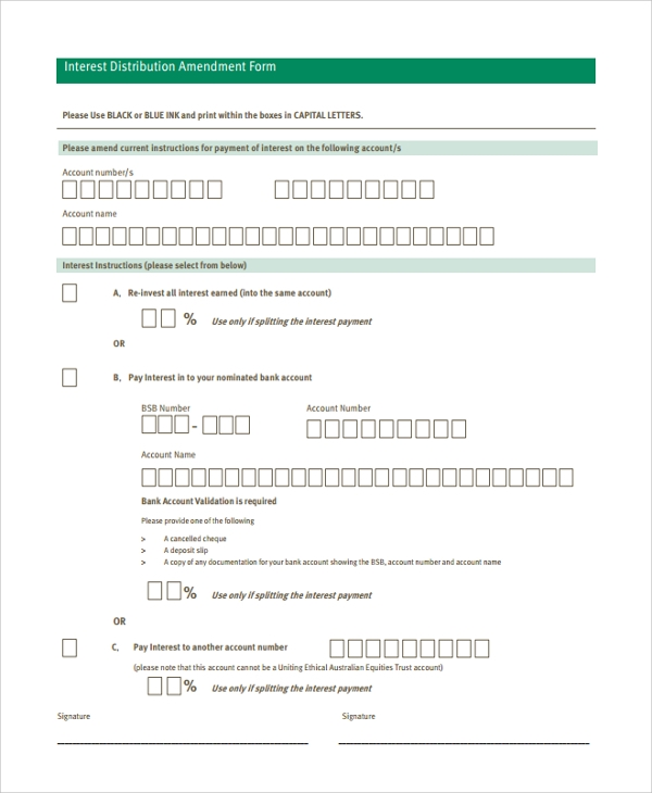 interest distribution trust amendment form