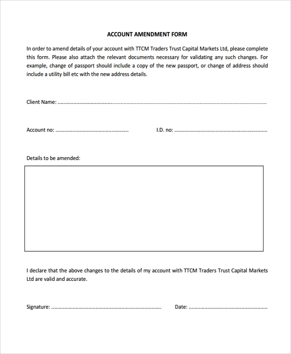 Sample Trust Amendment Form   Free Documents Download In Pdf