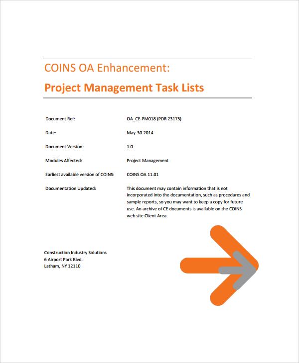 project management task list template