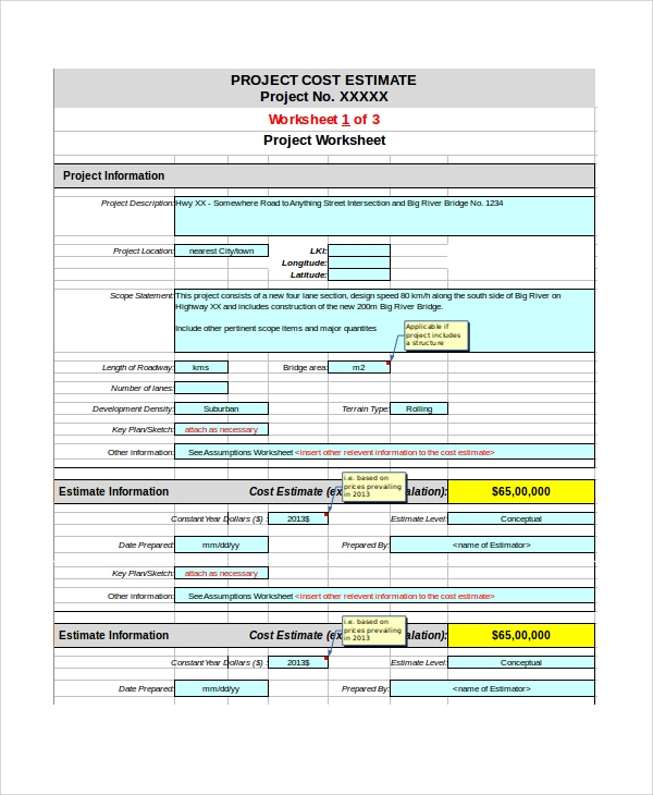 Sample Project Estimate Template 8 Free Documents