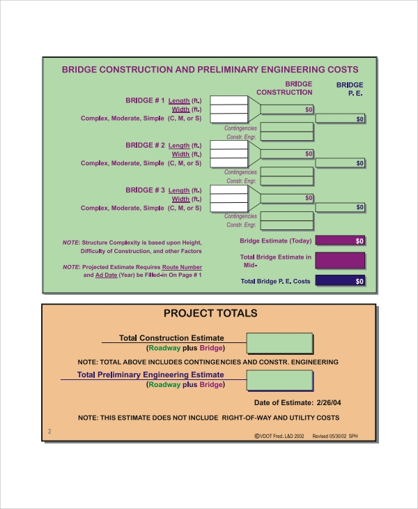 it project estimation template