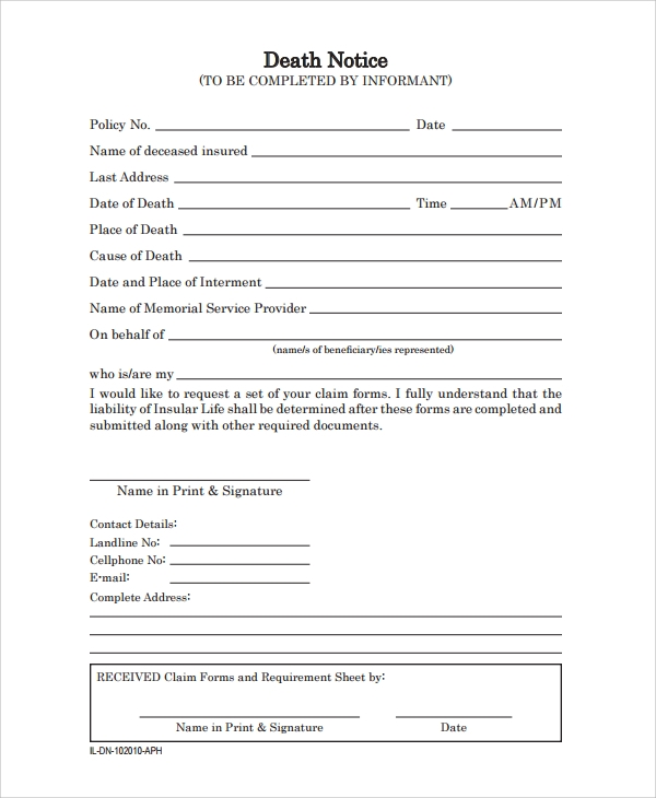 Sample Death Obituary Templates Free Documents Download in PDF Word – Death Obituary Template