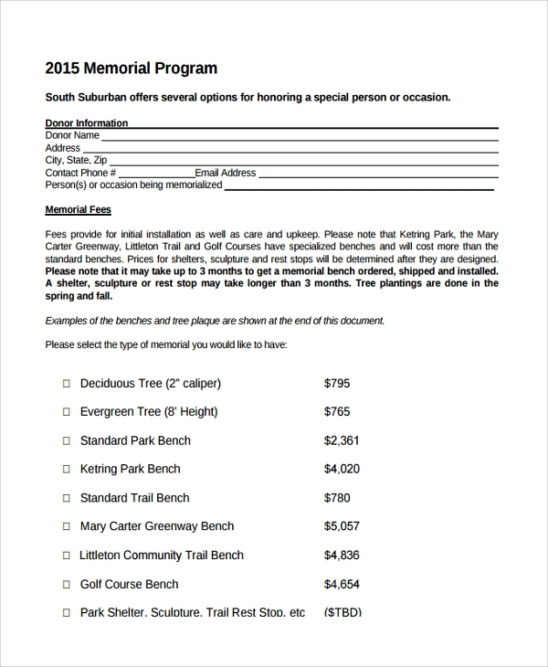 memorial service program template
