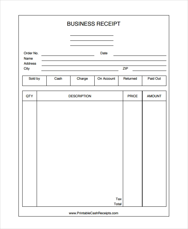 Business Receipt Template  Company Receipt Template