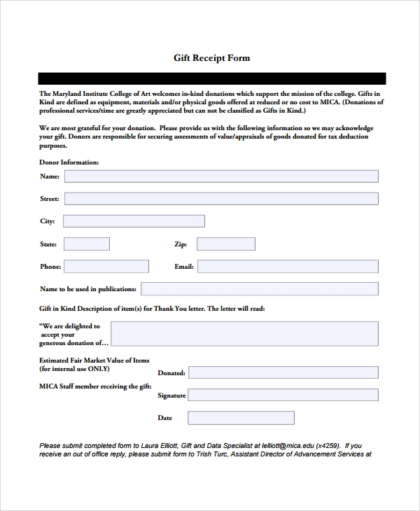 gift receipt form template