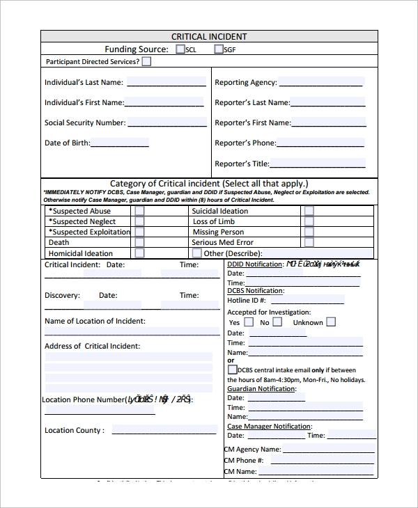 Critical Incident Reporting Form  Incident Report Form Template Word