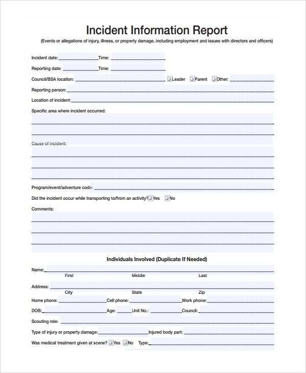 incident information report form