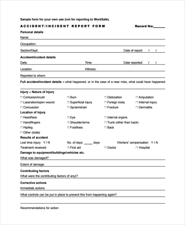 Sample Incident Reporting Form   Free Documents Download In Pdf Word