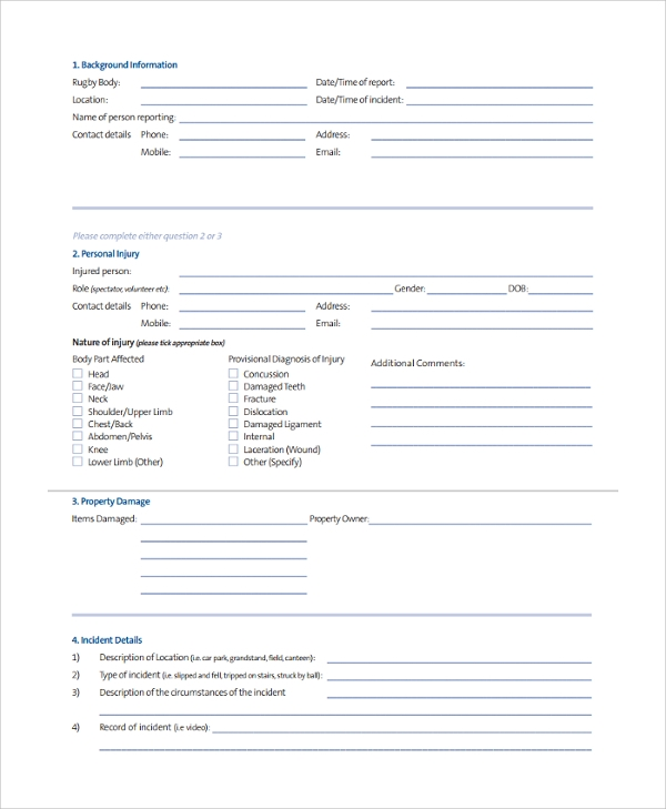 insurance incident reporting form