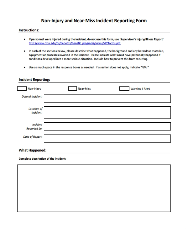 non injury incident reporting form