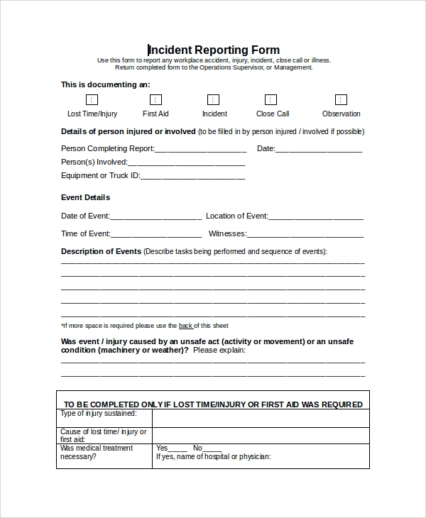 formal incident reporting form
