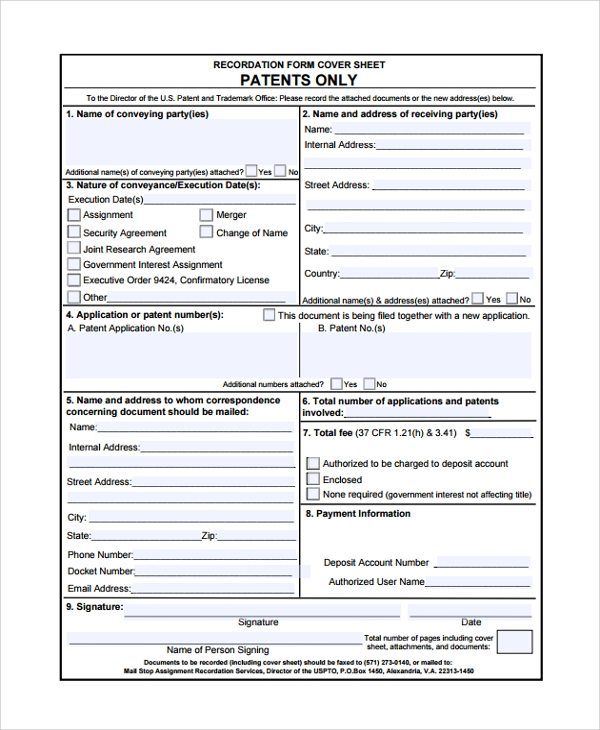 Sample patent assignment form 7+ free documents download in pdf.
