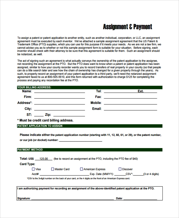 patent assignment form